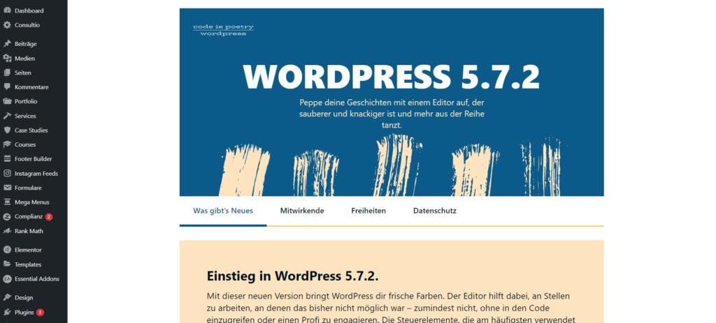 wordpress übersicht backend update